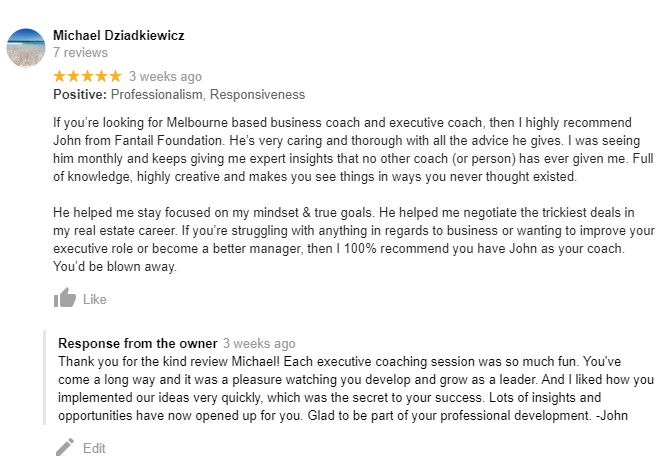 Executive coaching review by Michael on Google.